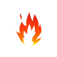 Flame fire symbol with white center. Vector illustration.