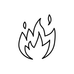 Flame fire icon. Thin line Vector illustration.