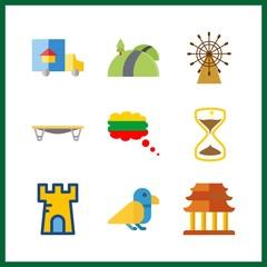9 sunrise icon. Vector illustration sunrise set. bird and trucks icons for sunrise works