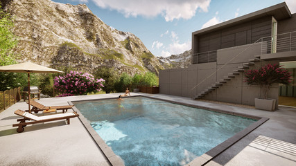 3D Render Of A Contemporary Villa And Outdoor Swimming Pool