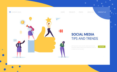 Digital Social Marketing Character Landing Page Design. Advertising Agency Teamwork for Online Strategy Development Concept for Website Template. Flat Cartoon Vector Illustration