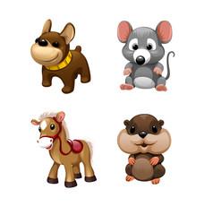 Keuken foto achterwand Beren Vector set of cute animals toys. Horse, mouse, dog,