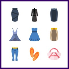 9 fashionable icon. Vector illustration fashionable set. long coat and sandal icons for fashionable works