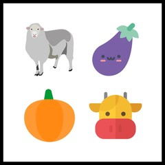 4 agriculture icon. Vector illustration agriculture set. sheep and eggplant icons for agriculture works