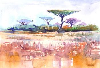 African landscape. Savana. Watercolor illustration