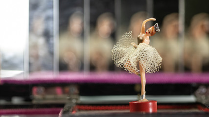 Vintage music box carillon with ballerina and mirrors