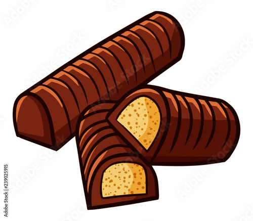 Yummy And Cute Long Chocolate Biscuits Vector Stock Image And