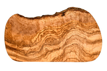 Top view of an olive wood serving and cutting board with vivid wood grain pattern isolated on white with clipping path at ALL sizes