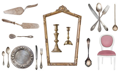 Set of 17 gorgeous old vintage items. Old dishes, appliances, kettles, chairs, books,  candlesticks, picture frames. Isolated on white background.
