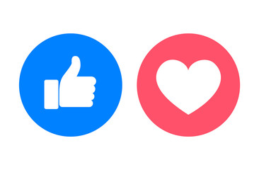 Thumb up and heart icons, vector illustration