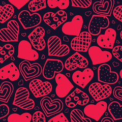 Seamless pattern with hand drawn hearts.