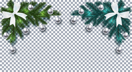 New Year. Christmas. Green and blue Christmas tree branch with toys with shadow. Corner drawing. White bow, silver balls with a pattern on a checkered background. illustration