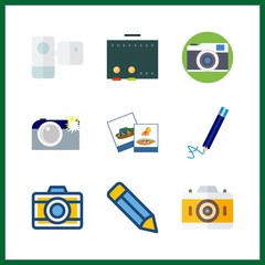 9 picture icon. Vector illustration picture set. pencil and cinema icons for picture works