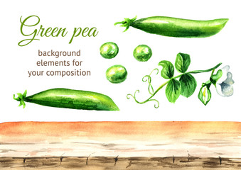 Green fresh peas background elements. Watercolor hand drawn illustration  isolated on white background