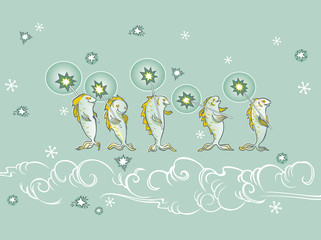 holiday card with singing fish