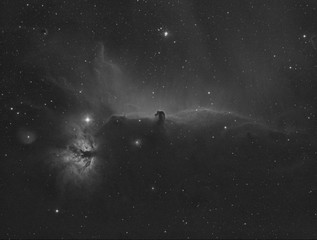 Horsehead Nebula and the Flame one in Orion constellation, taken by refractor telescope and with special filter that capture the Hydrogen alpha band; also many stars as background.