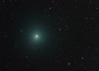 Big close up of the Christmas Comet, also called 46P/Wirtanen. Taken with refractor telescope and with huge amount of stars as background