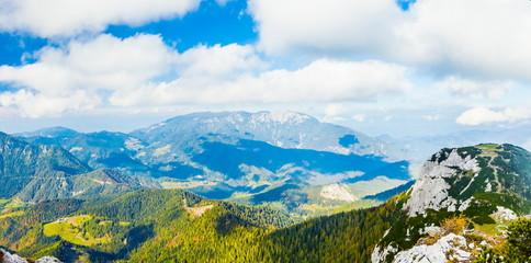 Travel Slovenia concept background - mountain landscape, Kamnik-Savinja Alps, Slovenia.