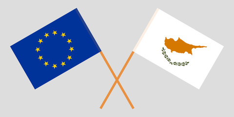 Cyprus and Europe. The Cyprian and European flags. Official proportion. Correct colors. Vector