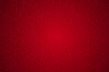 Holiday Christmas red backgound with icons and copy space. Template for a banner, poster, shopping, discount