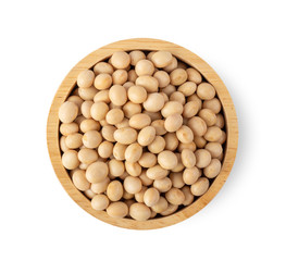 Fototapeta soy beans in wood bowl isolated on white background. top view obraz