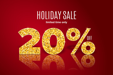 Golden holiday sale 20 percent off on red background. Limited time only. Template for a banner, poster, shopping, discount, invitation
