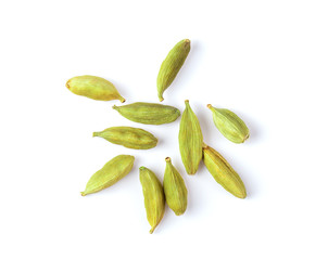 Top view of group of cardamom isolate on white background