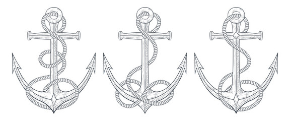 Anchors with rope around. Set of hand drawn sketches