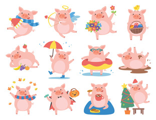 Wall Murals Owls cartoon Cute pig in different situations. Symbol of the year in the Chinese 2019.
