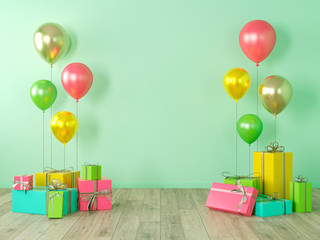 Green blank wall, colorful interior with gifts, presents, balloons for party, birthday, events. 3d render illustration, mockup.