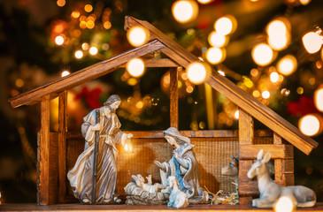 Christmas nativity scene; Jesus Christ, Mary and Joseph Wall mural