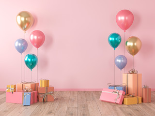 Pink blank wall, colorful interior with gifts, presents, balloons for party, birthday, events. 3d render illustration, mockup.