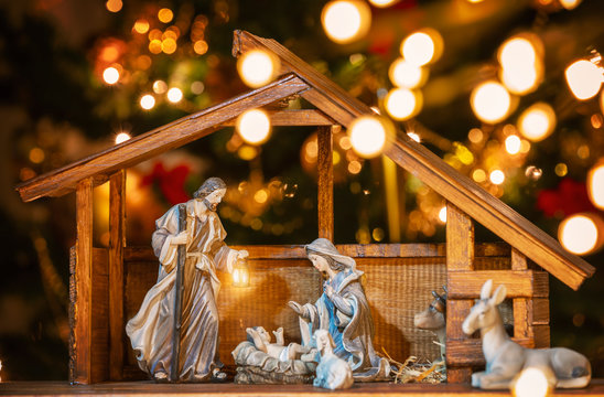 Christmas nativity scene; Jesus Christ, Mary and Joseph