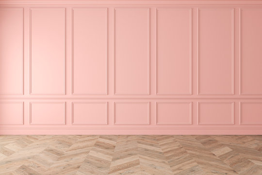 Modern classic pink, rose quartz, pastel, empty interior with wall panels and wooden floor. 3d render illustration mockup.