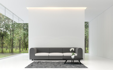 Minimal living room with white backdrop 3d rendering image.A white room decorated with gray fabric furnishings, decorated with gray carpets. Large frameless windows overlooking the garden.