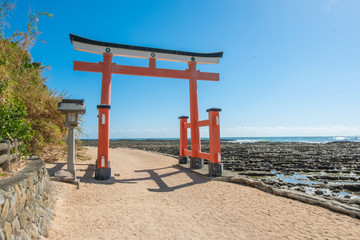 Torii gate of Aoshima shrine near Nichinan coastline of Miyazaki, Kyushu, Japan