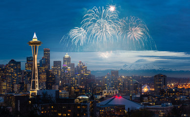 New years eve Fireworks Display at Seattle.