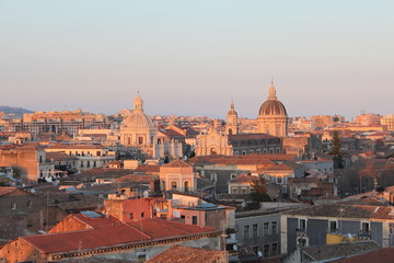 Rooftops of Catania at sunset