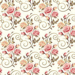 Seamless floral patterns with pink roses on a light background.