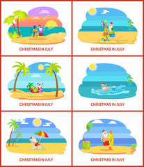 Christmas in July Vector Image on Beach Vector