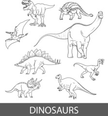 Set of vector black and white dinosaurs. Coloring book for children.