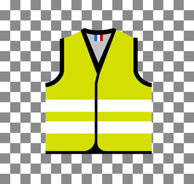 Yellow vest, as a symbol of protests in France against rising fuel prices. Yellow jacket revolution. Vector illustration on checkered background