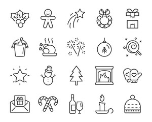 set of chistmas line icons, such as box, gift, winter