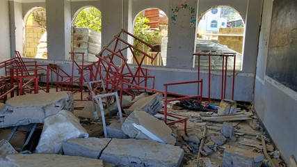"""""""Taiz / Yemen - Oct 18 2018: A destructive school used as a military barracks by al-Houthi militia, and was hit by an air strike by coalition aircraft"""""""