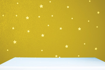 golden star background with table