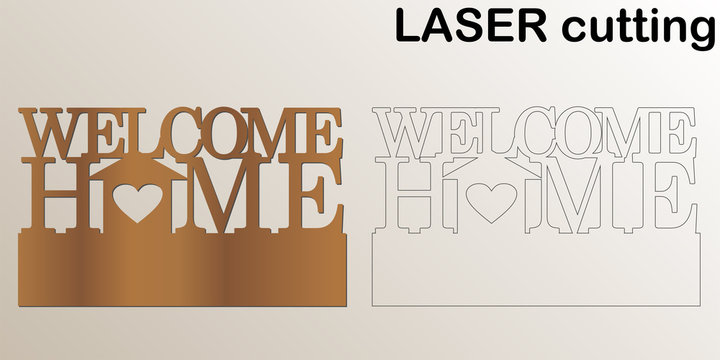 Cut laser key hanger for interior. Sign 'Welcome home' for laser cutting. Template laser cutting machine for wood and metal. The perfect gift for St. Valentine's Day or Wedding day.
