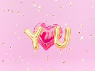 Love you sign golden foil balloon letters and heart on pink confetti background, 3d rendering,