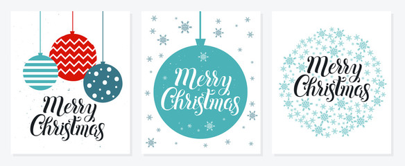 Merry Christmas and Happy New Year postcard collection on white background