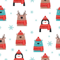 Seamless pattern with christmas stuff. Deer, bear, penguin