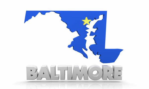 Baltimore Maryland MD City Map 3d Illustration